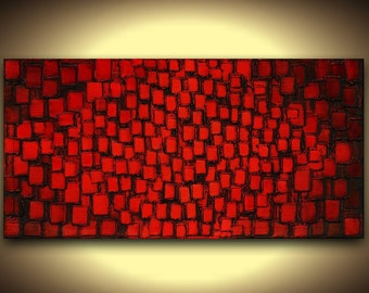 PRINT on Canvas Red Black Giclee Large Abstract Squares Home Decor Wall Art Modern Minimalist Contemporary Art by Susanna