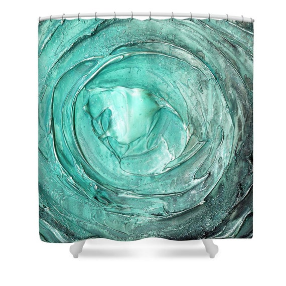 Teal Shower Curtain Aqua Blue Vortex Green Grey By ModernHouseArt