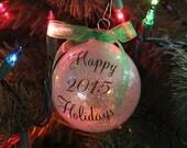 Glitter Glass Ball Ornament Merry Christmas 2015