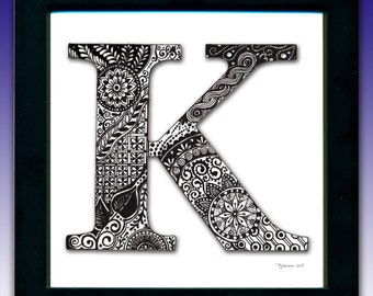 Framed 'K' Monogram Print