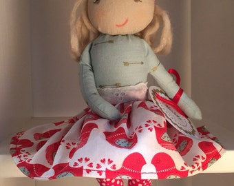 SOPHIA, a Christmas Kindness Elf from MiaLa Holiday Collection 2016. Blonde haired softie girl doll.