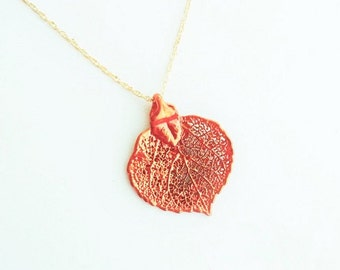 SUMMER SALE  Real Baby Colorado Aspen Leaf Dipped in Copper with a 14kt Gold Fill Rope Chain