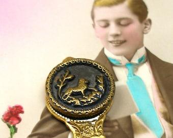 Leo, Antique BUTTON bookmark, Victorian LION on gold, present gift.