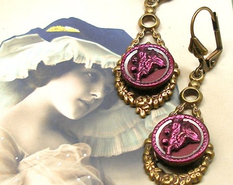 1800s Antique BUTTON earrings, Victorian pink flowers. Button jewellery.