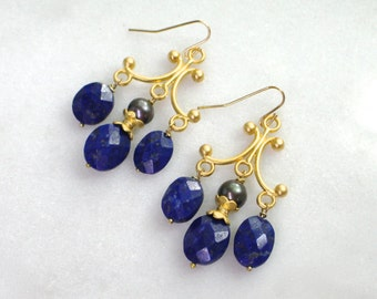 Lapis Triple Drop Chandelier Earrings in 22k gold vermeil...