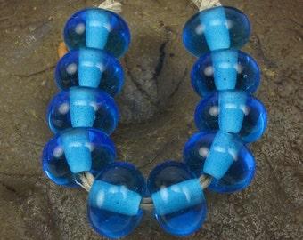 Handmade Glass Lampwork Spacer Bead Set (10) Handmade by Jason Powers SRA Light Aqua T034