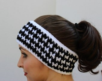 Crochet Headband - Crochet Ear warmer - Houndstooth Check Headband - Krissys Wonders - A Walk in the Park