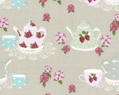 HALF YARD Lecien -Brown Sugar Tea for Two 31388-11 - High Tea Collection by Jera Brandvig - Teapots, teacup, strawberries roses lace doilies