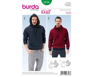 Burda Young Sewing PATTERN - B6718 - Men's Pullover Hoodie - Sizes 36-46
