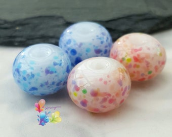 Lampwork Glass Beads Pink n Blue Mallow Fritties