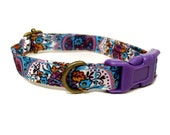 Istanbul - Teal Blue Purple Vintage Bohemian Middle Eastern Organic Cotton CAT Collar - All Antique Brass Hardware