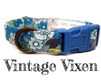 "Blue Green Vintage Floral Dog Collar - Organic Cotton - Antique Brass Hardware - ""Vintage Vixen"""