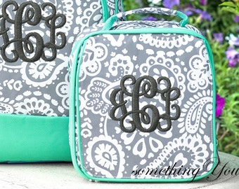 Parker Paisley Monogrammed Lunchbox, Girls School Lunch Bag, Personalized Lunchbox for Girls, Gray Mint Lunch Box Parker Paisley