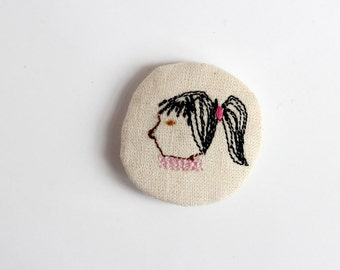 little animals pin - girl with a ponytail