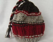 Chunky Knit Hat Red Gray Braid