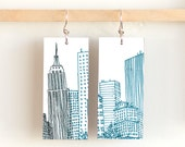 "NY Skyline, Paper & Wood Earrings, 1x2.25"""