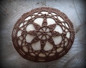 Crocheted Lace Stone, Handmade, Star, Mocha Brown Thread, Beige Stone, Smooth, Monicaj