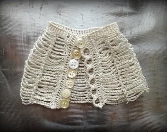 Crocheted Lace Cuff, Original, Ruffled, Handmade, Small, Unique, Nature, Wedding, Bride, Bohemian, Monicaj