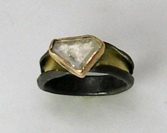 Alternative White Sapphire Engagement Ring,Fine Jewelry,Conflict Free,Sapphire Ring,Alternative Wedding Ring,Bimetal,Unique Wedding Band