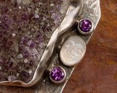 INNER EARTH - OOAK One Of A Kind - Amethyst Drusy Pendant Brooch With Carved Face Rainbow Moonstone and Faceted Amethyst