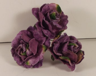 Velvet Roses Purple for Weddings Millinery Fascintator Corsage Boutonniere 3 in Bunch 1.75 inches