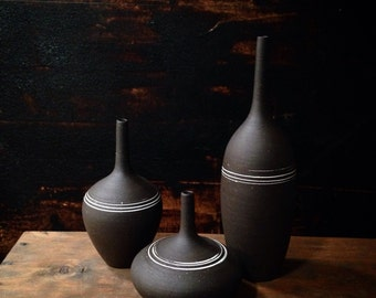 MADE to ODER-  3 tiny black matte bottles with white stripes by sara paloma. industrial modern mid century architectural pottery ceramics