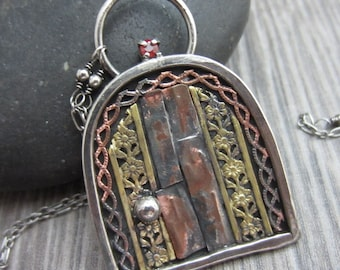 Little Hidden Door Necklace - Sterling Silver, Copper, Brass with Sapphire