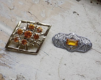FREE SHIPPING Vintage Brooch Lot with Amber Rhinestones