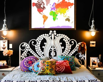 Unique Countries of the WORLD Map bright and bold white watercolor art poster by Marley Ungaro