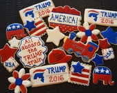 Detailed set of Trump Train Republican Party USA America Flag Make America Great Again sugar cookies