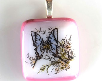 Butterfly Garden Pendant - Fused Glass Pendant - Glass Butterfly Pendant - Mesh Necklace - Permanent Decal - Melted Glass Pendant