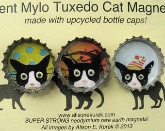 Cat Lover Gift - Fun Magnets - Silent Mylo Tuxedo Cat Magnets - Refrigerator Magnets - Cat Art - Gift for Cat Lover - Inexpensive Gift