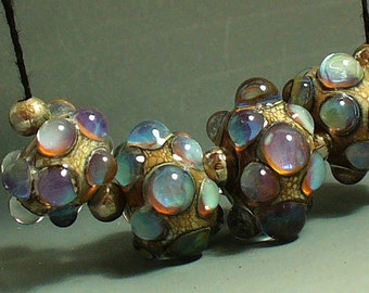 Handmade Glass Beads SRA by Catalinaglass Opal Pink and Blue Bubbles