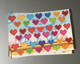 pixel heart sticker sheets