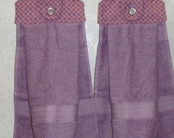 SET of 2 - Hanging Cloth Top Kitchen Hand Towels - Purple Basket Weave Print - Larger PURPLE Towels