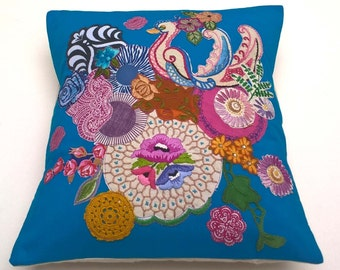 Vibrant Quilted Textile Art Cushion / Pillow. Original Artwork by Lisa Jane