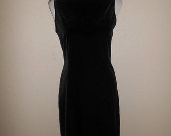 SALE Vintage 90's black velvet dress, short dress 90s