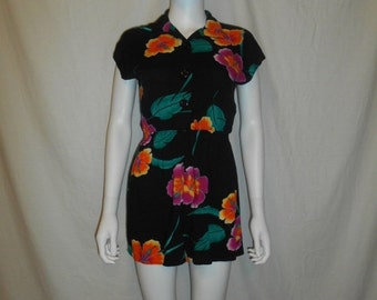 SALE 80's Floral Hawaiian Tropical Romper Play suit Shorts  Culottes