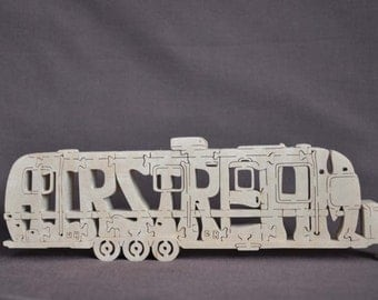Vintage Airstream Tri Axle  Camper Trailer Camping  Puzzle Wooden Toy Hand Cut with Scroll Saw