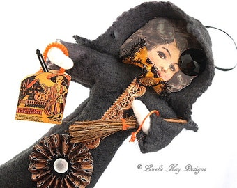 Large Victorian Inspired Spun Cotton Halloween Feather Tree Ornament Decoration Lorelie Kay Original