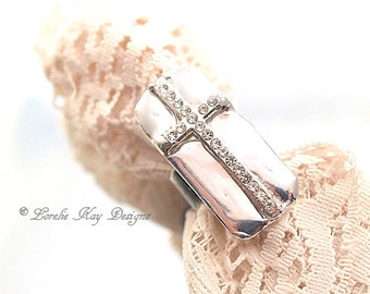 Soldered Rhinestone Cross Ring Christian Cross One-of-a-Kind Shiny Silver Cross Ring