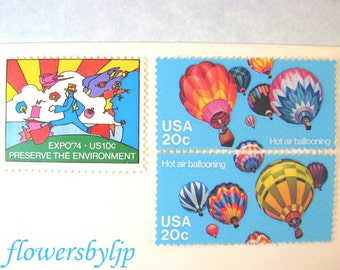 Groovy 70s Postage Stamps Unused,  Hot Air Balloon Stamps, Mail 10 Letters Cards 49 cent stamps 1 oz, 1970s hippie postage stamps, 2017 rate