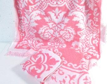 Vintage towel set, mid century modern, pink and white damask pattern, hollywood regency, pink bathroom decor