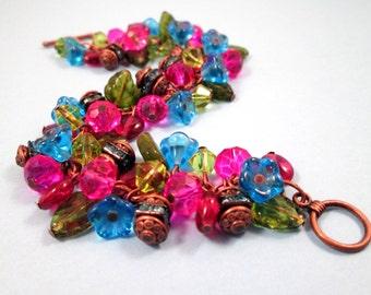 Flower Bracelet, Copper and Jewel Tones, Pink Blue Green Glass Beaded Bracelet, FREE Shipping U.S.