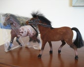 2 What A Horse Collection vintage flocked plastic model horses by Fishel appaloosa