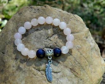 RESERVED for WILMA MATHIS Rose Quartz Gemstone Stretch Bracelet
