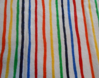 White Flannel with Rainbow Stripe One Yard, Striped White Cotton Flannel