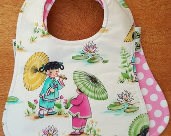 Bib China Dolls & Pink Polka Wanawara Reversible bib