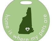 Luggage Tag - Home Is Where My Pets Are - Round Plastic Bag Tag - Custom State or Country