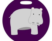 Luggage Tag - Hippo - 2.5 inch or 4 Inch Round Plastic Bag Tag